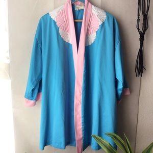 Vintage Natori for Saks Blue Pink Scalloped Robe S